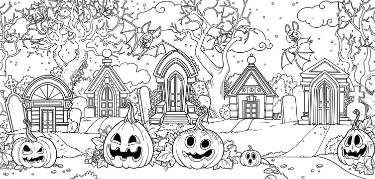 Seamless background from scary old cemetery with Halloween pumpkins and bats outlined for coloring page