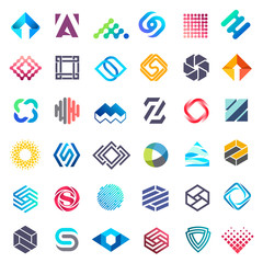 Big vector set of logo design. Unusual icons for business