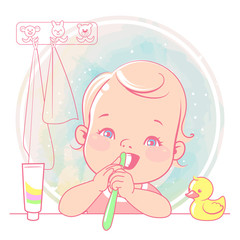 Cute little baby girl brush her teeth at mirror in bathroom. Toothbrush in hand. Open mouth. Children' hygiene. Template for mother's blog in doc ial media. Vector illustration.