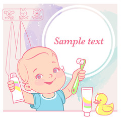 Cute little baby girl brush her teeth at mirror in bathroom. Toothbrush in hand. Open mouth. Children' hygiene. Template for mother's blog in social media. Vector illustration.