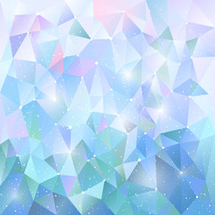 Trendy polygonal winter blue pattern. Background of triangles. Vector illustration, design element for cover, banners, poster, cards, business and others
