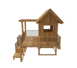 Render of wooden kids playground. Isolated on white background.