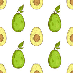 Avocado. Fruit. Sketch. Texture, wallpaper. Seamless. Color