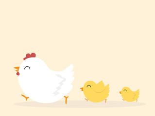 Illustration of  chicken family