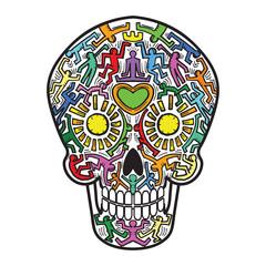 Mexican Calavera Skull street art theme