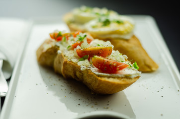 traditional spanish tapas for lunch table, mini sandwiches food set,  delicious snack appetizer