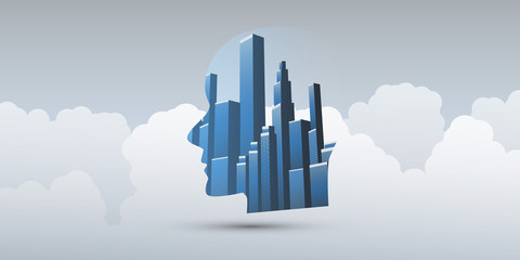 Smart City, Automated Digital Control, Deep Learning, Artificial Intelligence and Future Technology Concept Design with City Skyline and Human Head - Vector Illustration