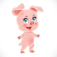 Cute little cartoon baby pig stand on a white background