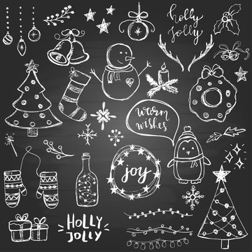Set of cute and simple hand drawn Christmas elements on the blackboard background