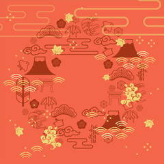 Japanese template vector with geometric pattern