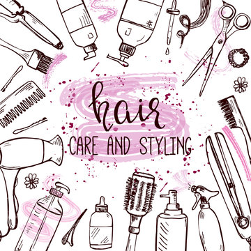 Template with hand drawn hair styling and care products