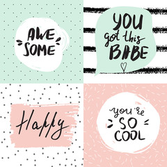 Set of inspirational posters with hand lettered motivational quotes.