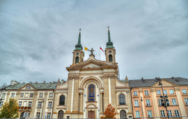 Colorful HDR image of the Field Cathedral of the Polish Army (Katedra Polowa Wojska Polskiego) in the center of Warsaw, Poland