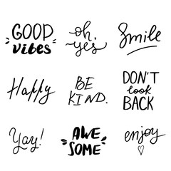 Set of hand lettered inspirational andd motivational quotes.