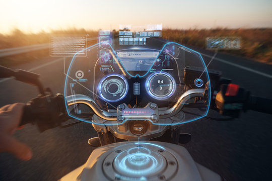 Portrait of a futuristic motorcycle with holograms. Concept: future, technology, travel