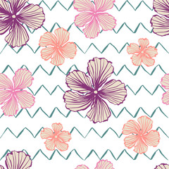 Hand drawn flowers elements. Floral background. Print for pillow, t-shirt, greeting or inviting card, template for cover