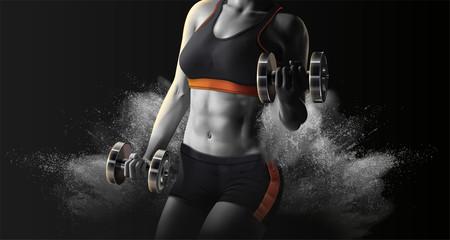 Obraz Fitness woman lifting weights - fototapety do salonu