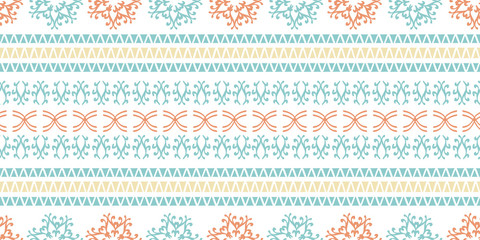 Vintage stripes tribal motif seamless pattern with colorful abstract drawing. Vector illustration for fashion wrapping and textile print.