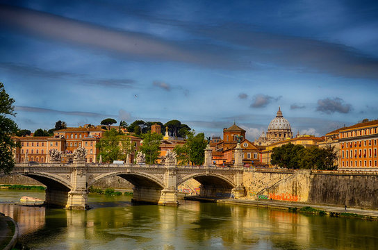 View of St. Peter Basillica across the river