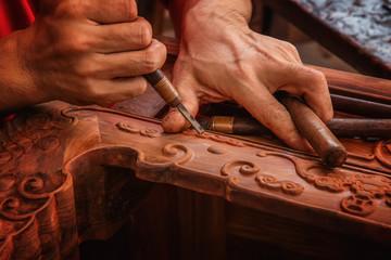 Carving and polishing of mahogany furniture Wall mural