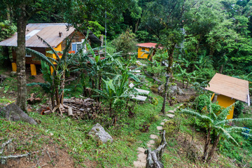 VALLE HORNITO, PANAMA - MAY 23, 2016: View of Lost and Found Jungle Hostel in Panama