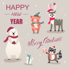 Christmas and New Year card with cute cartoon animals and pig.