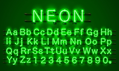 Neon font city. Neon green font eps. Lamp green font. Alphabet font. Vector illustration