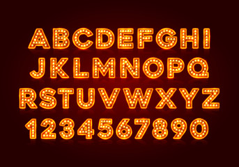 Red fluorescent neon font on dark background. Nightlight alphabet. Vector illustration. Fotomurales