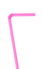 pink drinking straw isolated on white background.