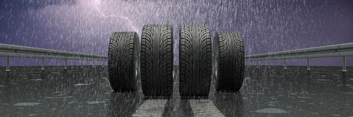 Reifen bei Regen auf Straße
