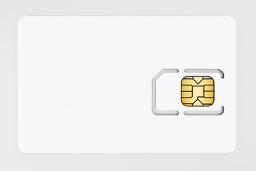 SIM card isolated on white background. 3D illustration