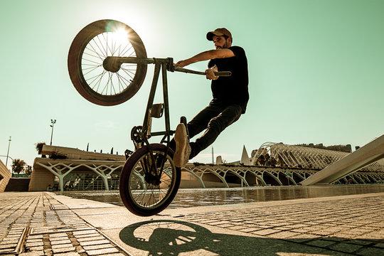 Guy riding a bmx bike .Extreme street sport