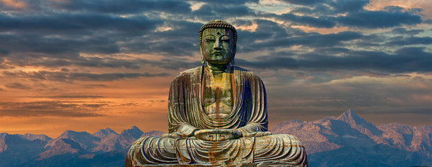 Poster Boeddha Image of buddha with mountains at dawn background