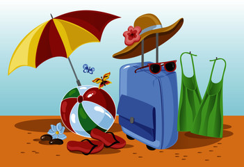 suitcase with beach accessories