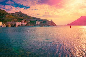 Scenic sunset sea landscape. Beautiful seascape nature