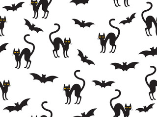 Abstract seamless pattern Halloween with cat and bat on white background