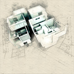 Designer Modern building on blueprints