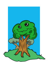 A funny cartoon tree character with face. Vector illustration