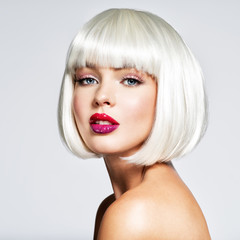 Fashion portrait of woman with bob hairstyle