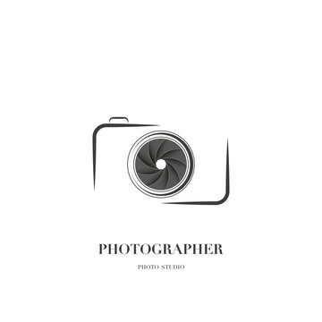Abstract camera logo vector design template for professional photographer or photo studio