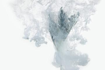 flower water blue background white inside under paints acrylic smoke streaks grass sea haze blur underwater world planet