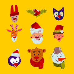 Christmas characters faces set.