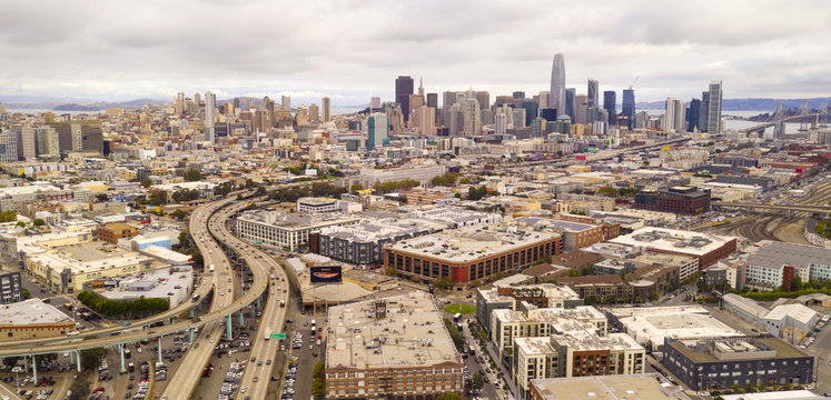 Aerial View Highways and Buildings of San Francisco California