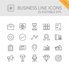 Business line icons set on a white background. Second group