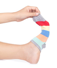 woman wearing short socks isolated on a white background.