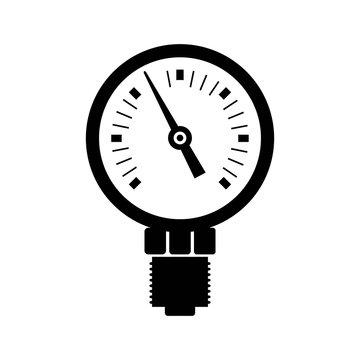 pressure gauge plumbing icon. black isolated