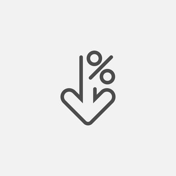 Percent down line icon isolated on white background. Vector illustration.