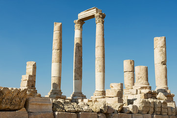 Ancient stone columns at the Citadel of Amman in Amman, Jordan.