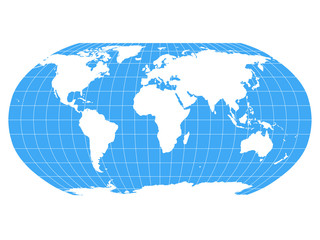 Wall Mural - World Map in Robinson Projection with meridians and parallels grid. White land and blue seas and oceans. Vector illustration.