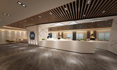 3d render of working office